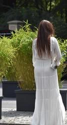 descuido vestido trasparente upskirt