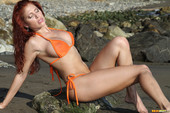 Erika Jordan - Orange G-string In The Surf