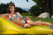 Heather Vandeven - Sheer Blue Micro Bikini