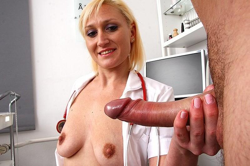 Female doctors examining male genitalia